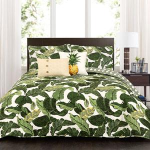 Tropical Paradise Green Five-Piece Full/Queen Quilt Set