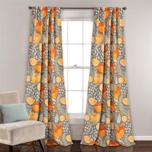 Poppy Garden Yellow and Gray 84 x 52 In. Room Darkening Window Curtain Panel Set