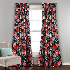 Poppy Garden Navy 84 x 52 In. Room Darkening Window Curtain Panel Set
