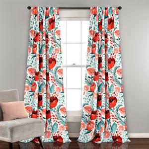 Poppy Garden Multicolor 84 x 52 In. Room Darkening Window Curtain Panel Set