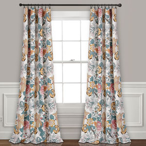 Sydney Blue and Yellow 84 x 52 In. Room Darkening Window Curtain Panel Set