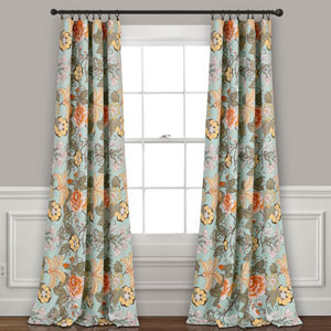 Sydney Blue and Green 84 x 52 In. Room Darkening Window Curtain Panel Set