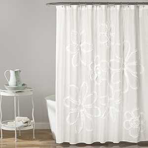 Ruffle Flower White 72 In. Shower Curtain