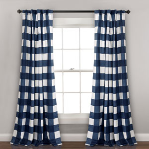 Kelly Checker Navy 84 x 52 In. Room Darkening Window Curtain Panel Set