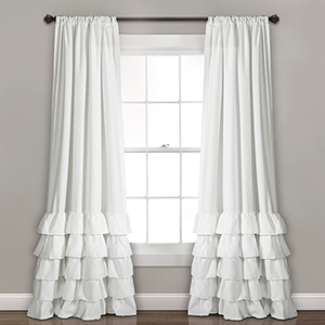 Allison Ruffle White 84 x 40 In. Curtain Panel Set