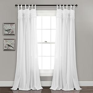 Lydia Ruffle White 84 x 40 In. Curtain Panel Set