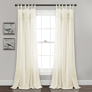 Lydia Ruffle Ivory 84 x 40 In. Curtain Panel Set