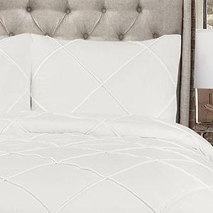 Diamond Pom Pom White King Three-Piece Comforter Set