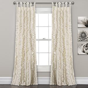 Sophia Ruffle Ivory 84 x 40 In. Curtain Panel Set