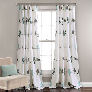Rowley Birds Blue and Gray 84 x 52 In. Room Darkening Window Curtain Panel Set