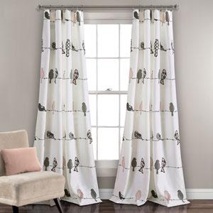 Rowley Birds Blush and Gray 84 x 52 In. Room Darkening Window Curtain Panel Set