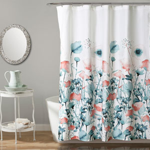 Zuri Flora Blue and Coral Shower Curtain