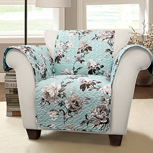 Tania Floral Blue and Gray Single Arm Chair Furniture Protector