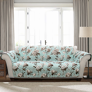 Tania Floral Blue and Gray Single Sofa Furniture Protector