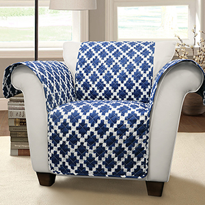 Wellow Ikat Navy Single Arm Chair Furniture Protector