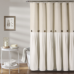 Linen Button 72 In. Shower Curtain