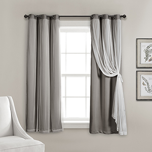 Dark Gray 63 x 38 In. Grommet Sheer Panels with Insulated Blackout Lining Curtain Panel Set