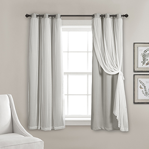 Light Gray 63 x 38 In. Grommet Sheer Panels with Insulated Blackout Lining Curtain Panel Set