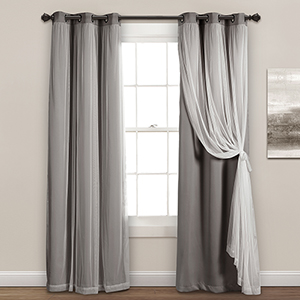 Dark Gray 84 x 38 In. Grommet Sheer Panels with Insulated Blackout Lining Curtain Panel Set