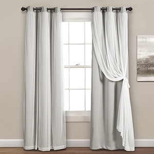 Light Gray 84 x 38 In. Grommet Sheer Panels with Insulated Blackout Lining Curtain Panel Set