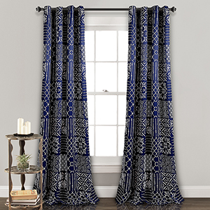 Monique Navy 84 x 52 In. Room Darkening Curtain Panel Set