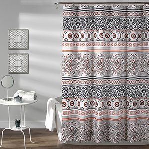 Nesco Stripe Navy and Coral 72 In. Shower Curtain