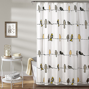 Rowley Birds Yellow and Gray 72 In. Shower Curtain