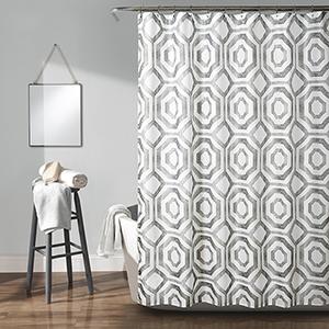 Octagon Blocks Gray 72 In. Shower Curtain