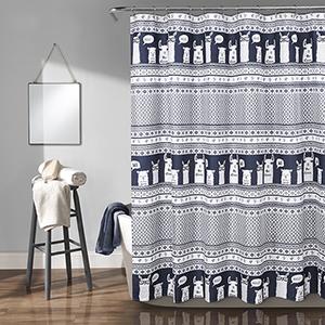 Llama Stripe Navy 72 In. Shower Curtain