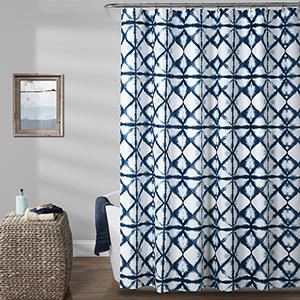 Geo Shibori Navy 72 In. Shower Curtain