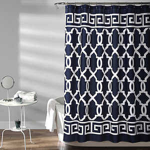Maze Border Navy 72 In. Shower Curtain