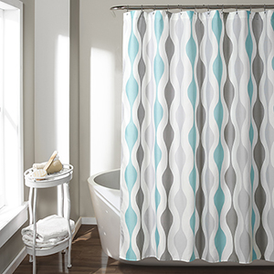 Mid Century Geo Blue and Gray 72 In. Shower Curtain
