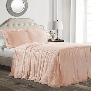 Ruffle Skirt Blush Full Three-Piece Bedspread Set