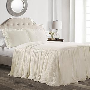 Ruffle Skirt Ivory Queen Three-Piece Bedspread Set