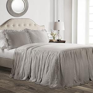Ruffle Skirt Gray Queen Three-Piece Bedspread Set