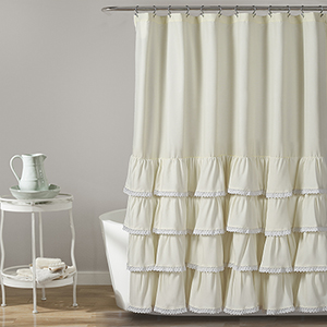 Ella Lace Ruffle Ivory 72 In. Shower Curtain
