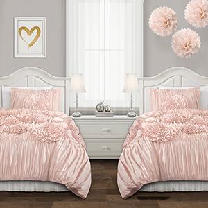 Serena Pink Blush Twin XL Two-Piece Comforter Set