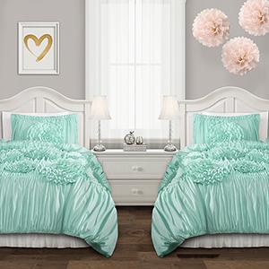 Serena Aqua Full/Queen Three-Piece Comforter Set