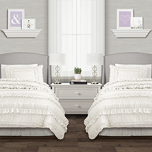 Belle White Twin XL Three-Piece Comforter Set