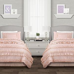 Belle Blush Twin XL Three-Piece Comforter Set