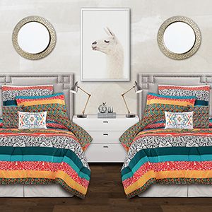 Boho Stripe Turquoise and Tangerine Twin XL Five-Piece Comforter Set