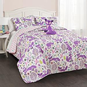 Pixie Fox Purple and Pink Twin Three-Piece Quilt Set