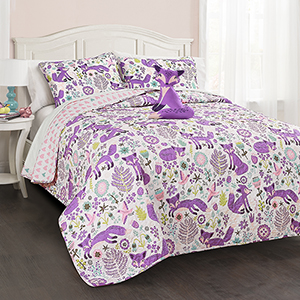 Pixie Fox Purple and Pink Full/Queen Four-Piece Quilt Set