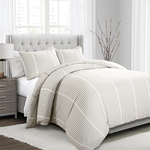 Drew Stripe Taupe Full/Queen Three-Piece Duvet Cover Set