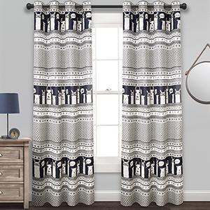 Llama Stripe Navy 84 x 52 In. Room Darkening Curtain Panel Set