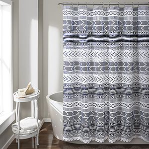 Hygge Geo Navy and White 72 In. Shower Curtain