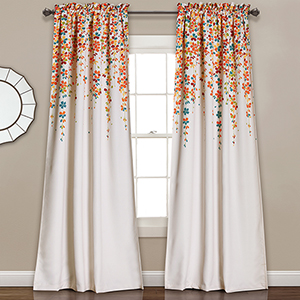 Weeping Flower Tangerine and Turquoise 95 x 52 In. Room Darkening Curtain Panel Set