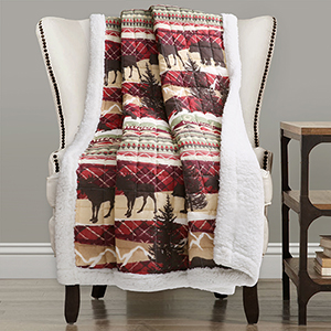 Holiday Lodge Red and Brown Sherpa Throw