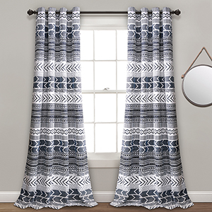 Hygge Geo Navy and White 84 x 52 In. Room Darkening Curtain Panel Set