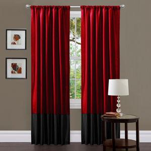 Milione Fiori Red and Black Window Curtain Panel Pair